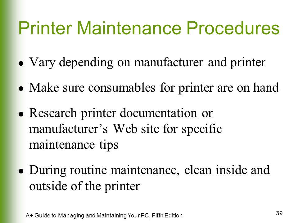 Printer Maintenance Procedures