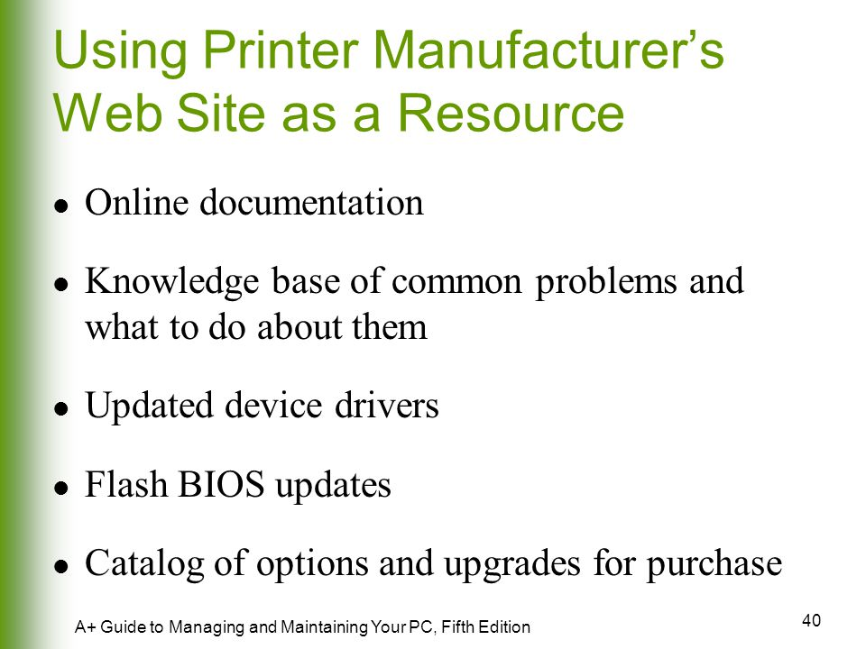Using Printer Manufacturer's Web Site as a Resource