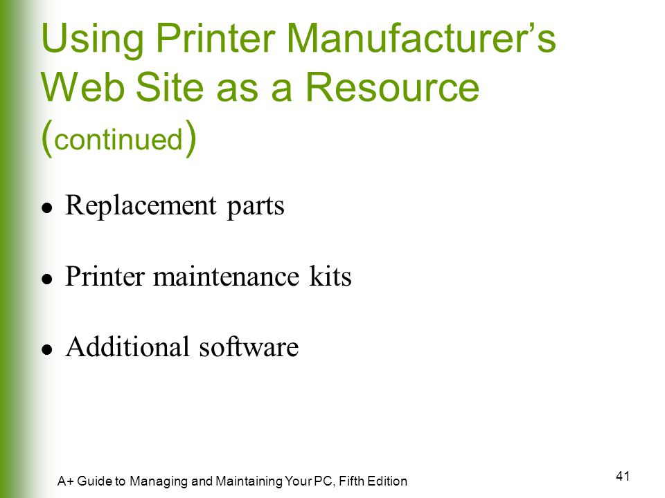 Using Printer Manufacturer's Web Site as a Resource (continued)