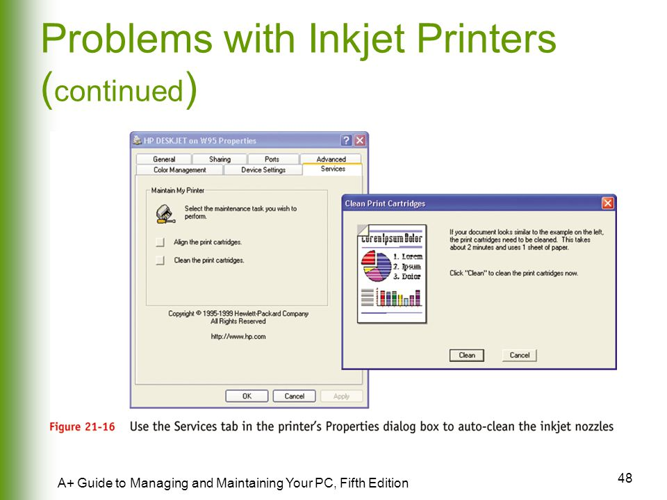 Problems with Inkjet Printers (continued)