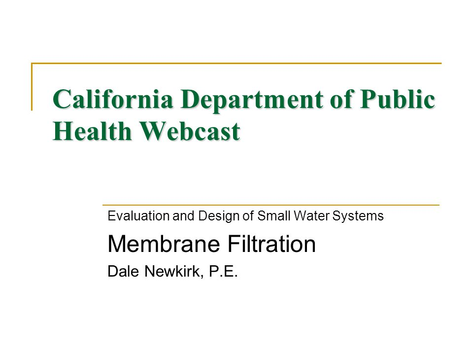 California Department of Public Health Webcast