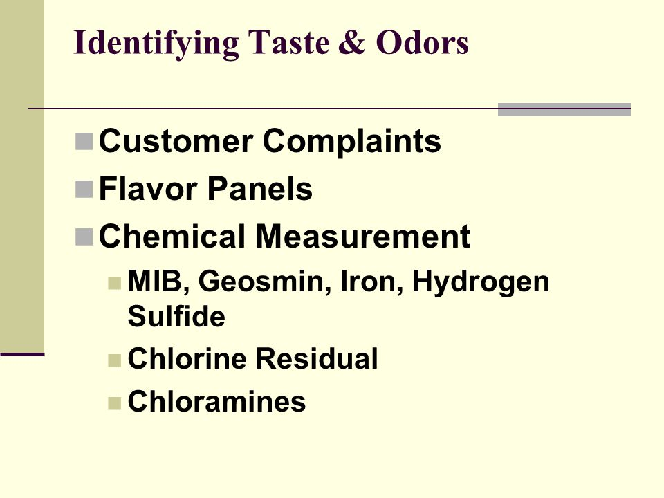 Identifying Taste & Odors
