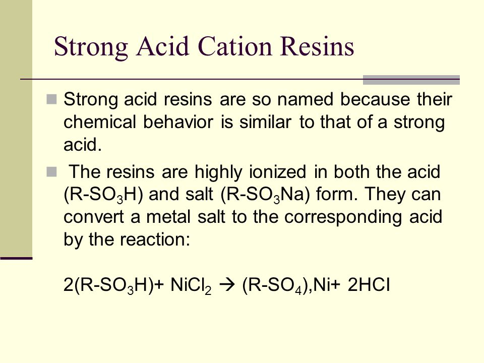 Strong Acid Cation Resins