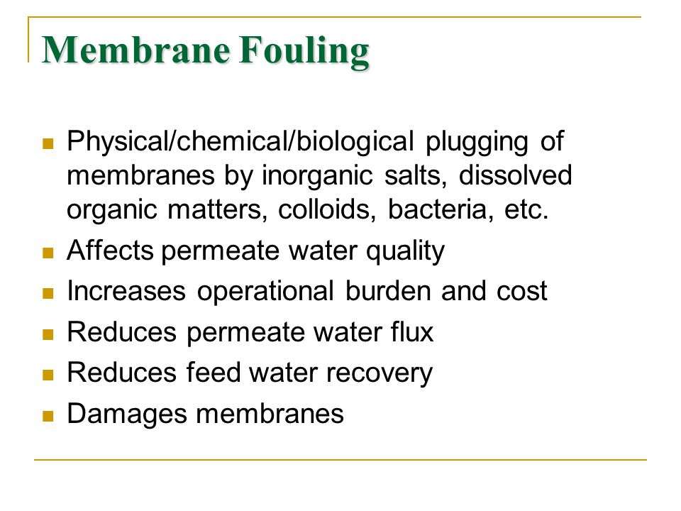 Membrane Fouling Physical/chemical/biological plugging of membranes by inorganic salts, dissolved organic matters, colloids, bacteria, etc.