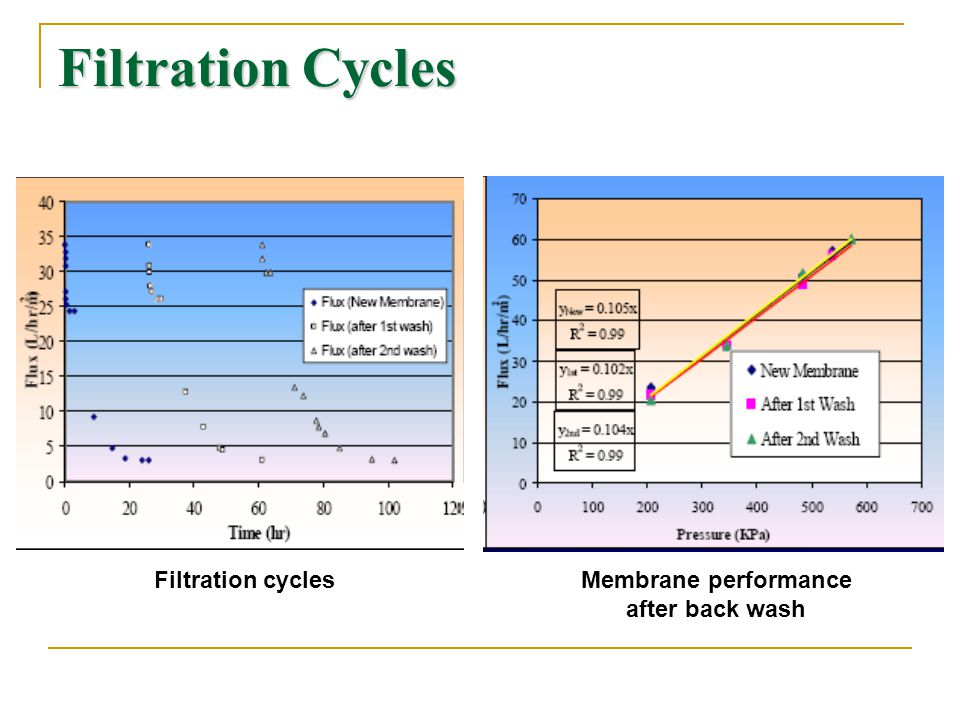 Filtration Cycles Filtration cycles Membrane performance