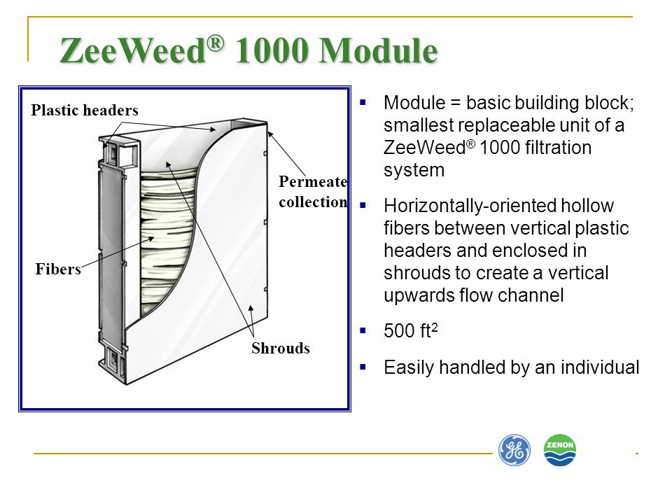 ZeeWeed® 1000 Module Module = basic building block; smallest replaceable unit of a ZeeWeed® 1000 filtration system.