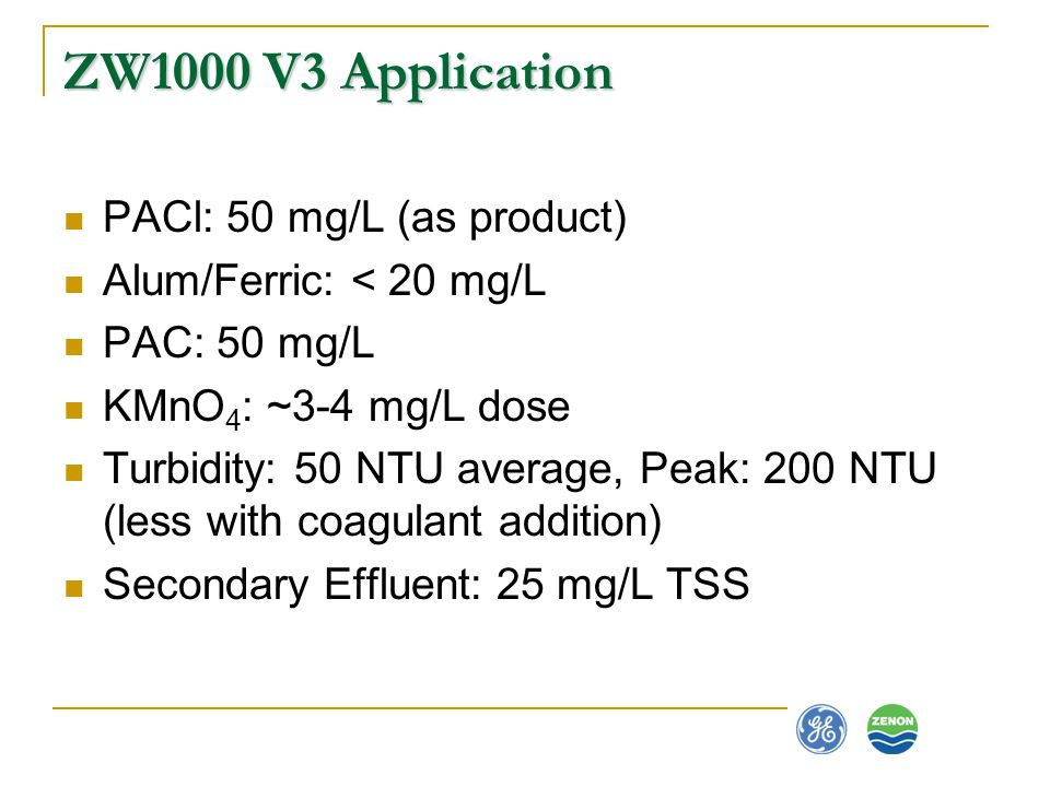 ZW1000 V3 Application PACl: 50 mg/L (as product)