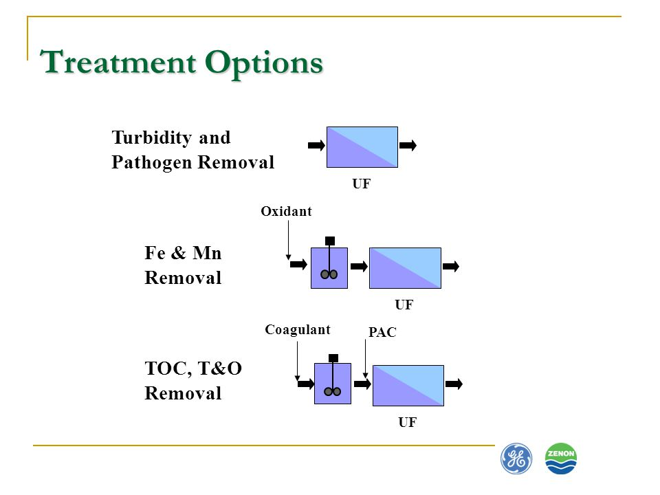Treatment Options Turbidity and Pathogen Removal Fe & Mn Removal