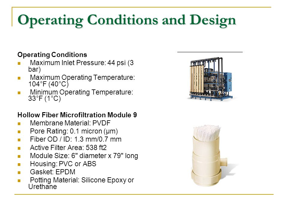 Operating Conditions and Design