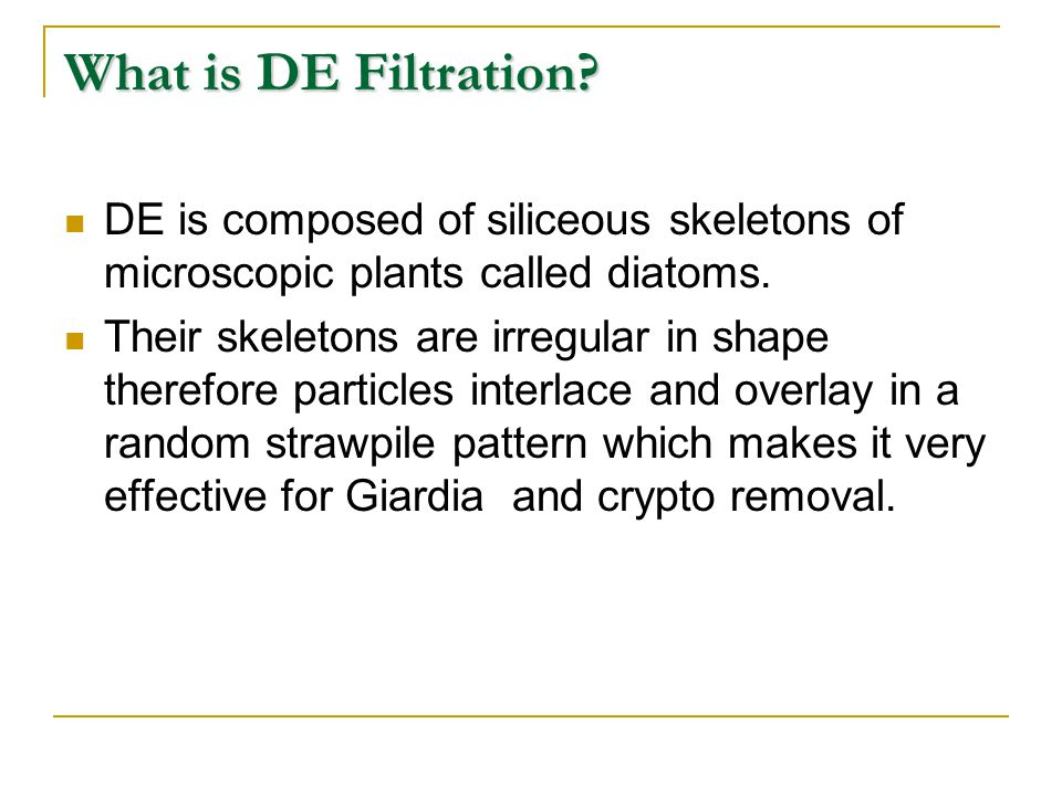 What is DE Filtration DE is composed of siliceous skeletons of microscopic plants called diatoms.