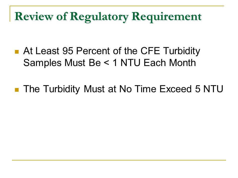 Review of Regulatory Requirement