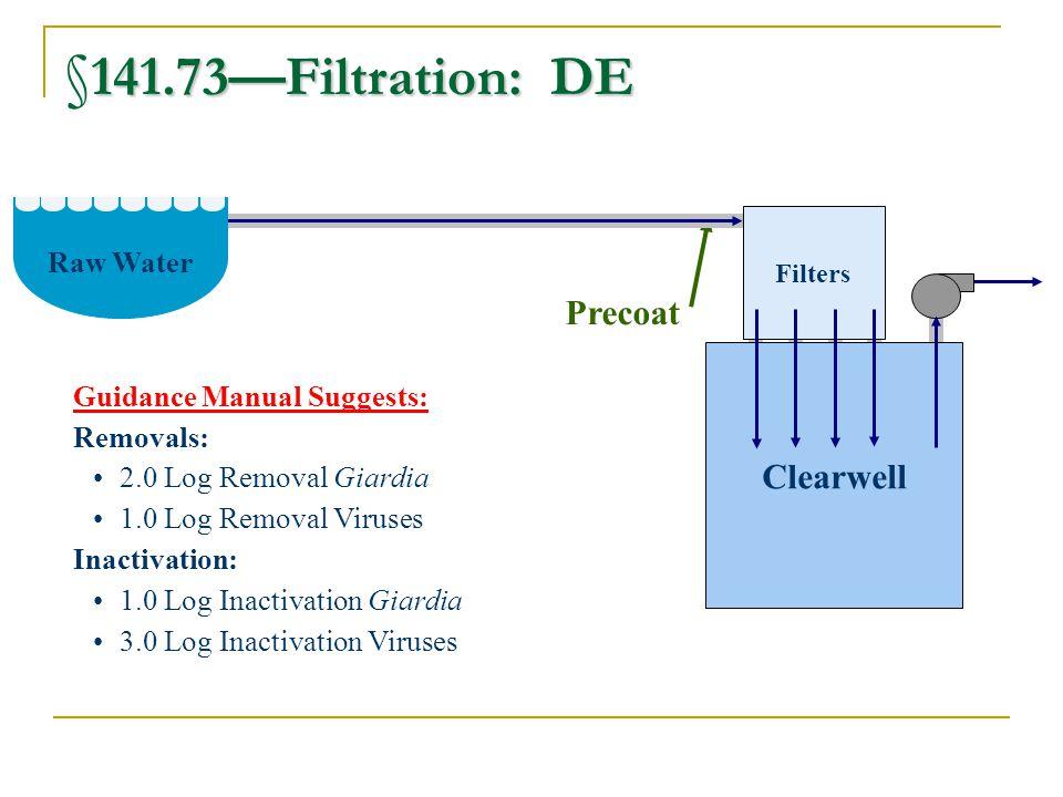 §141.73—Filtration: DE Precoat Clearwell Raw Water