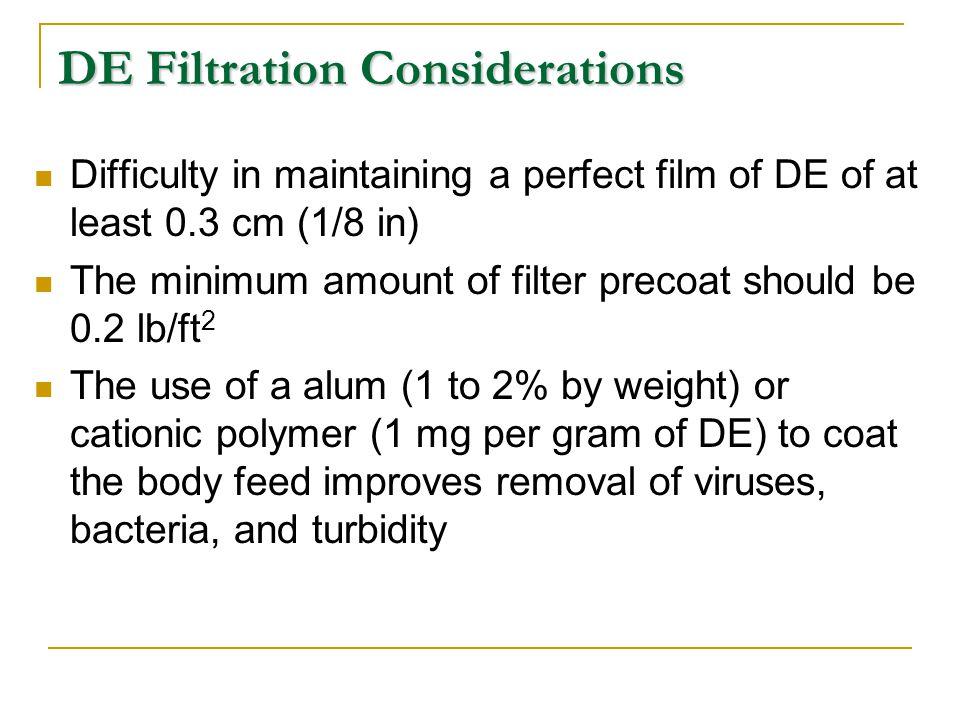 DE Filtration Considerations