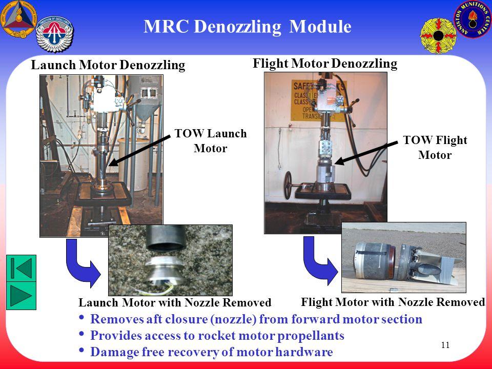 MRC Denozzling Module Launch Motor Denozzling Flight Motor Denozzling