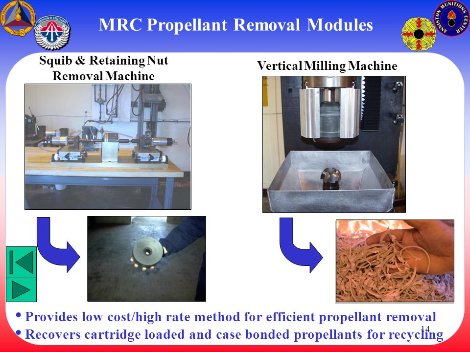MRC Propellant Removal Modules Squib & Retaining Nut Removal Machine