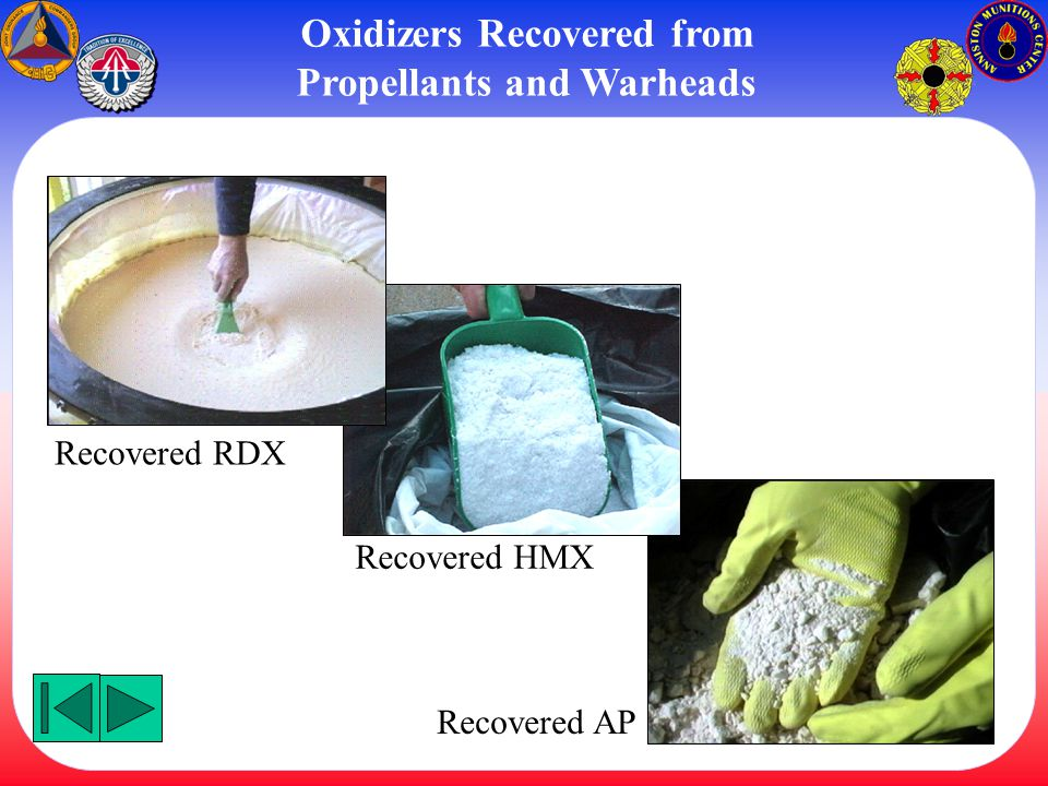 Oxidizers Recovered from Propellants and Warheads