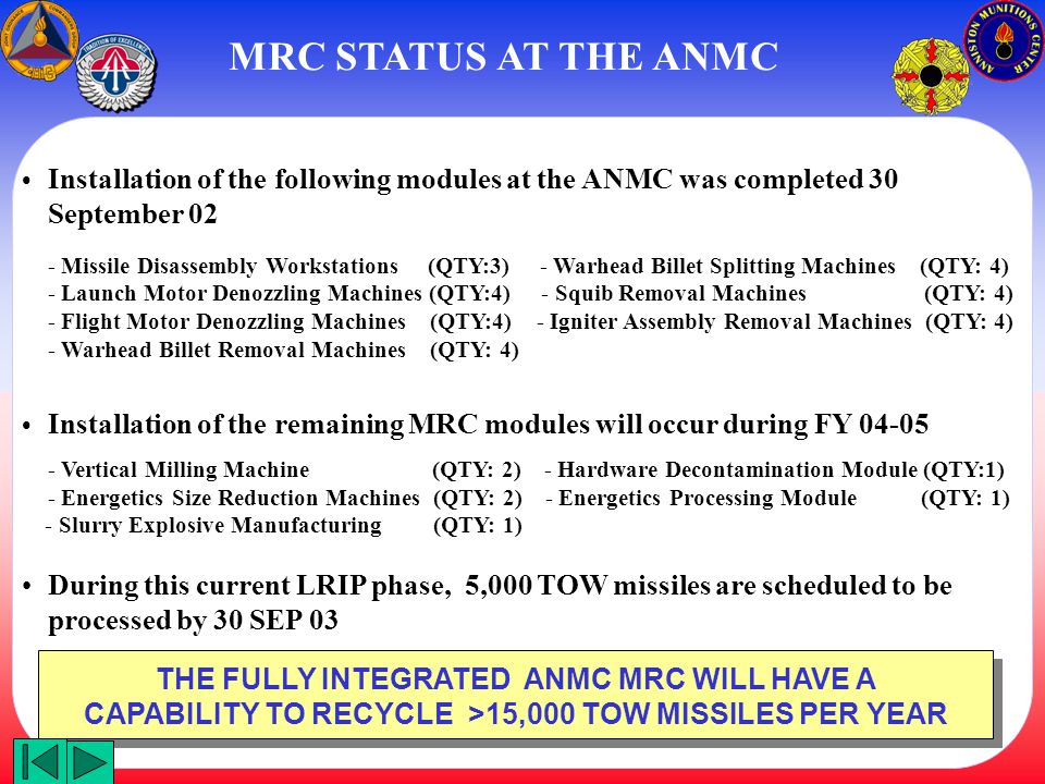MRC STATUS AT THE ANMC • Installation of the following modules at the ANMC was completed 30 September 02.