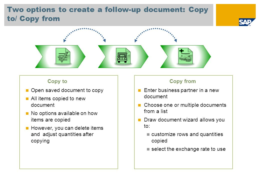 Two options to create a follow-up document: Copy to/ Copy from