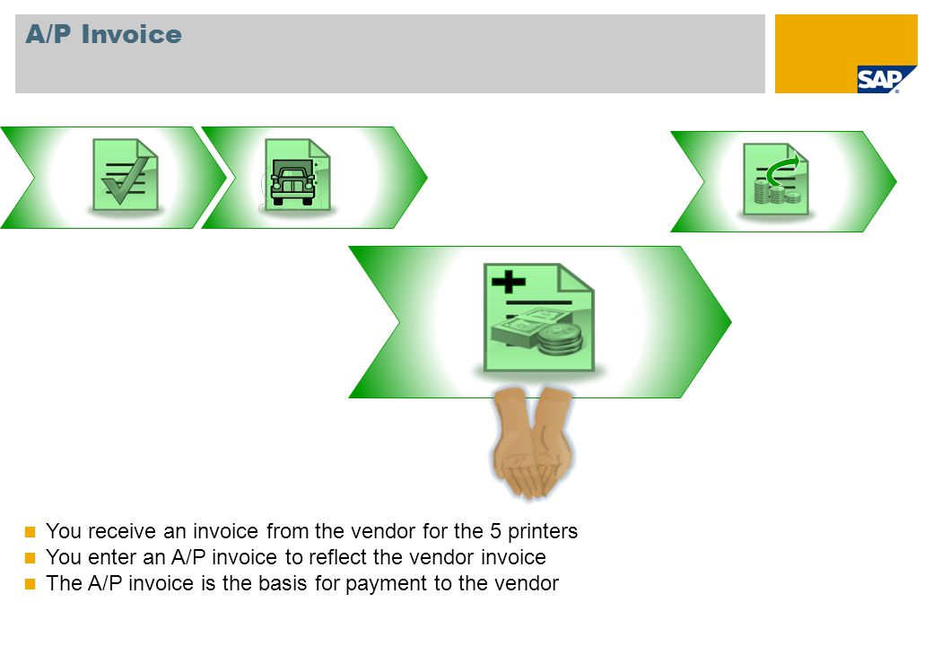 A/P Invoice You receive an invoice from the vendor for the 5 printers