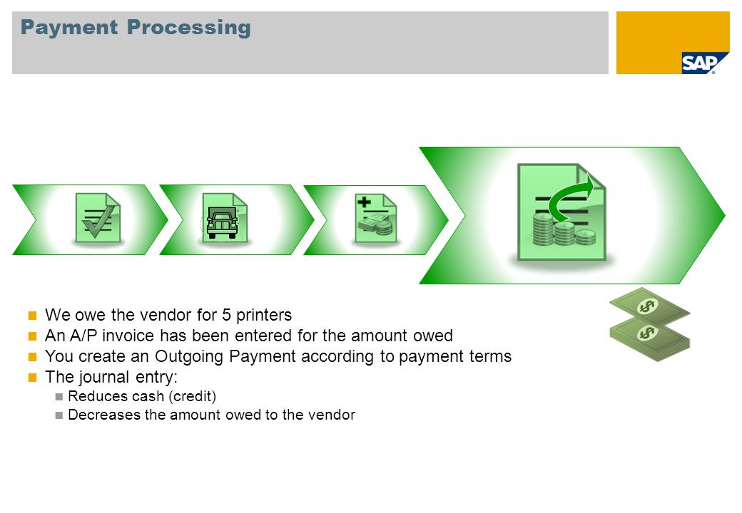 Payment Processing We owe the vendor for 5 printers