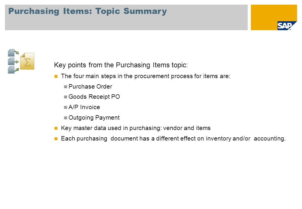 Purchasing Items: Topic Summary