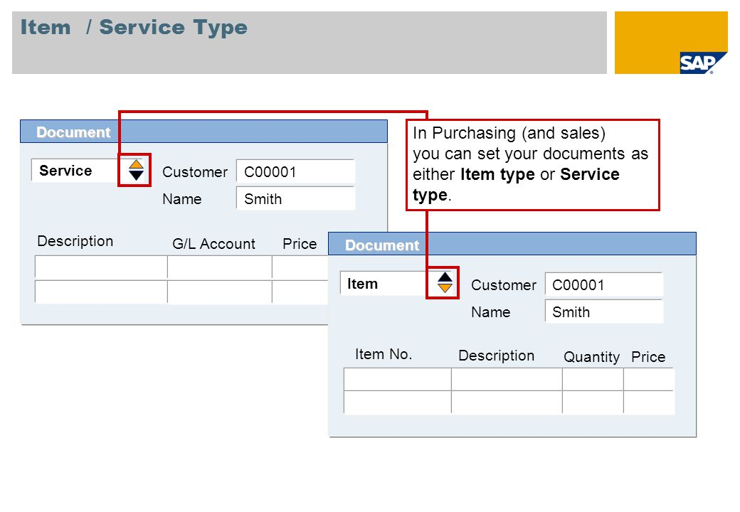 Item / Service Type Document. In Purchasing (and sales) you can set your documents as either Item type or Service type.