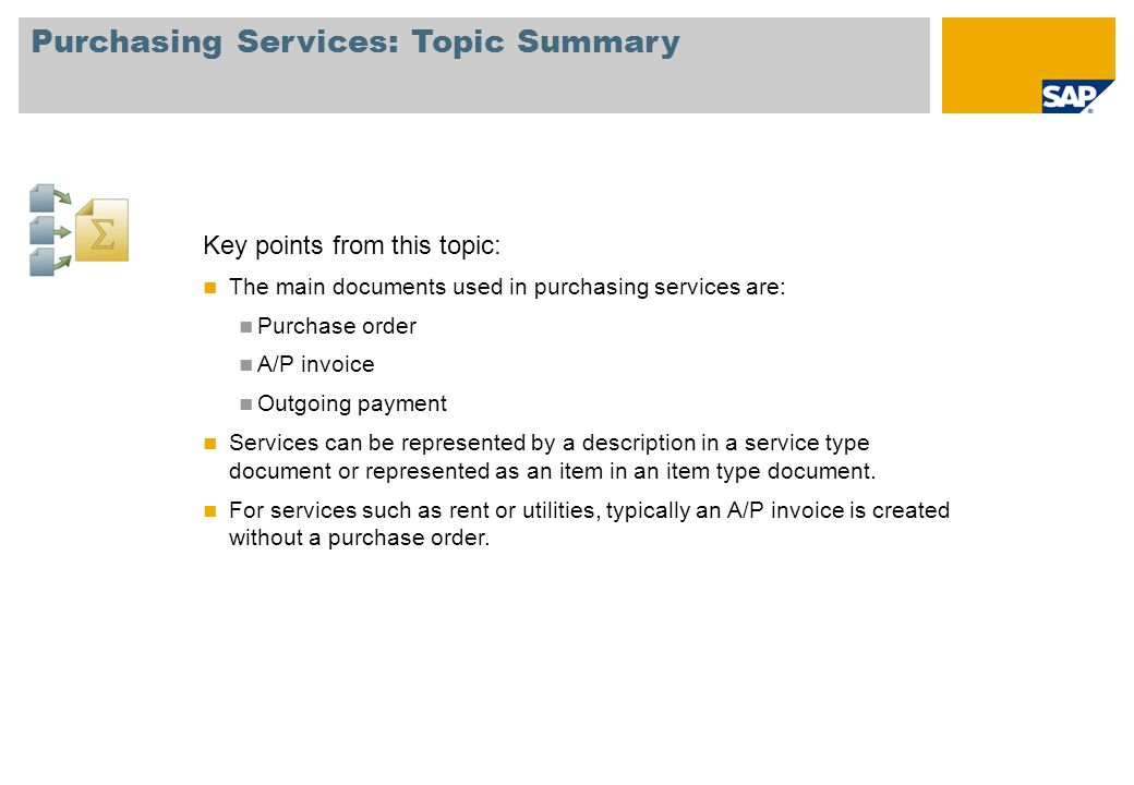 Purchasing Services: Topic Summary