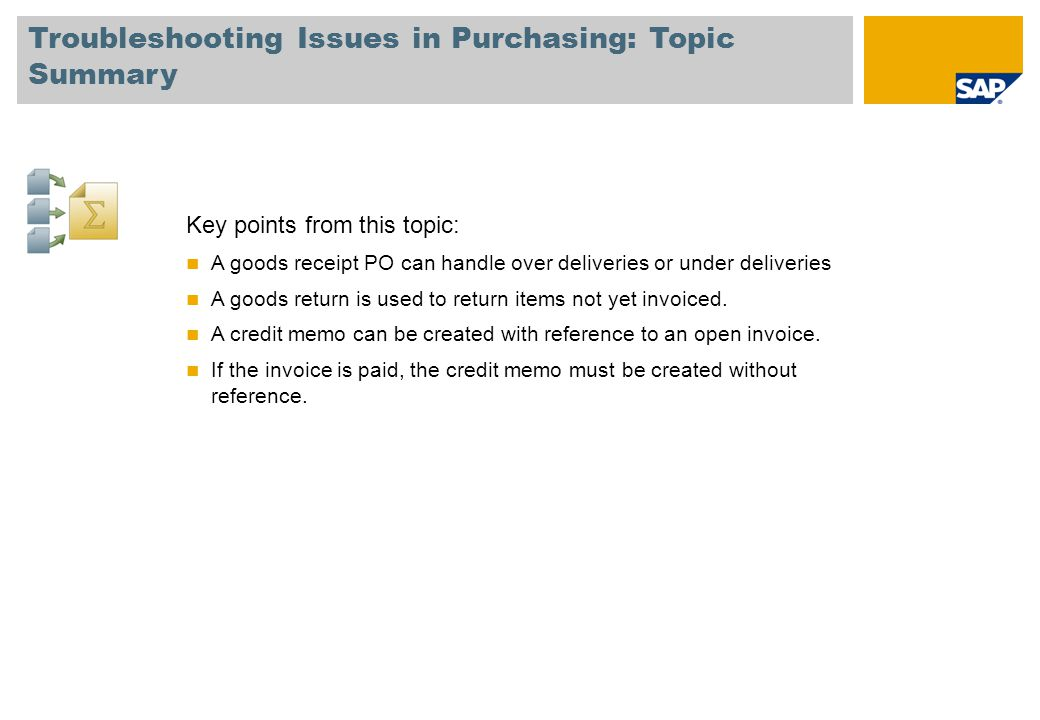 Troubleshooting Issues in Purchasing: Topic Summary