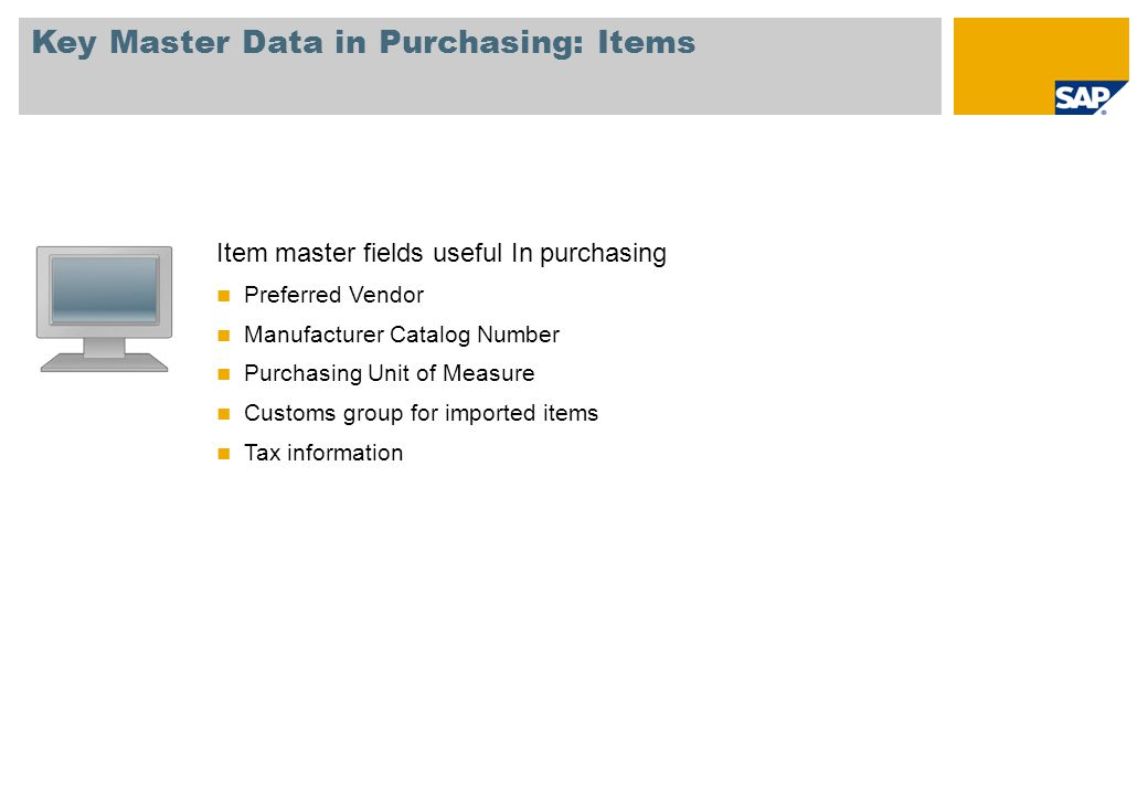 Key Master Data in Purchasing: Items