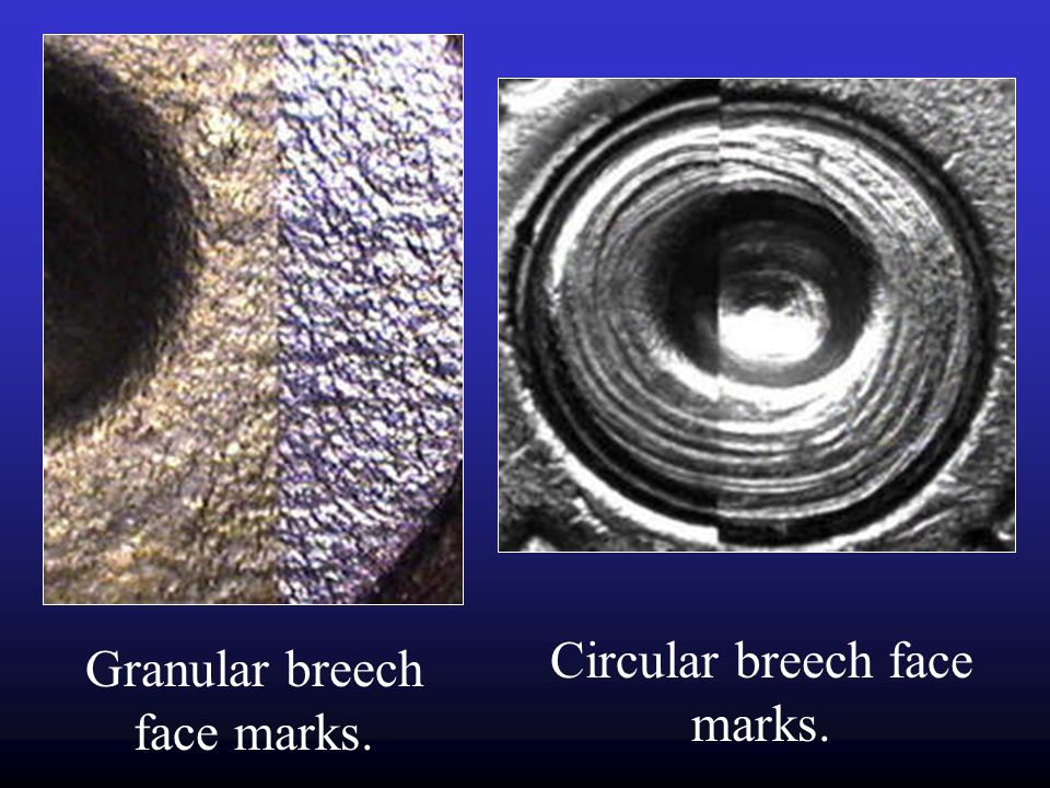 Circular breech face marks. Granular breech face marks.