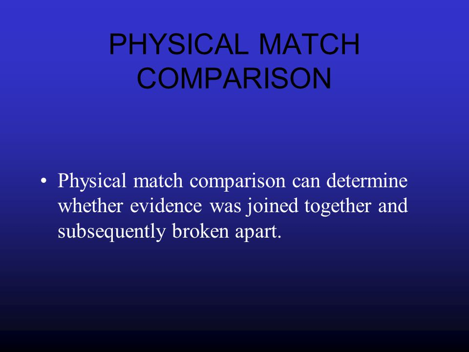PHYSICAL MATCH COMPARISON