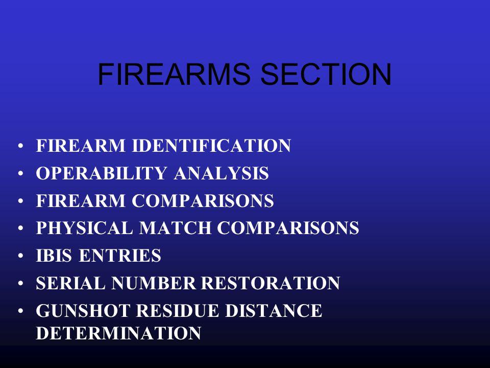 FIREARMS SECTION FIREARM IDENTIFICATION OPERABILITY ANALYSIS