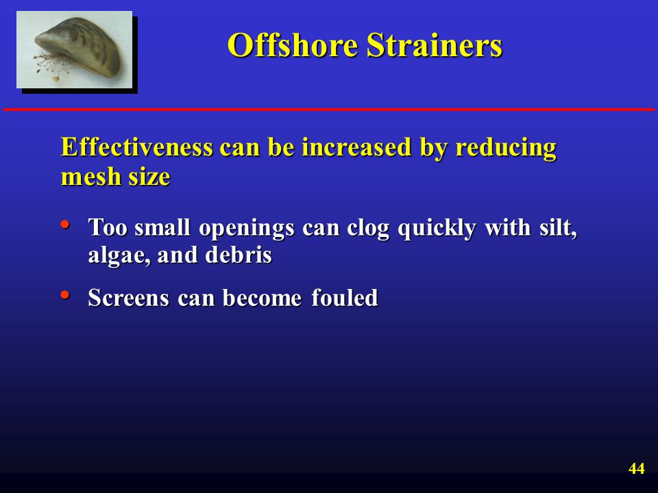 Offshore Strainers Effectiveness can be increased by reducing mesh size. Too small openings can clog quickly with silt, algae, and debris.