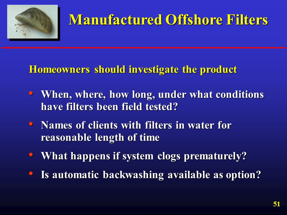 Manufactured Offshore Filters