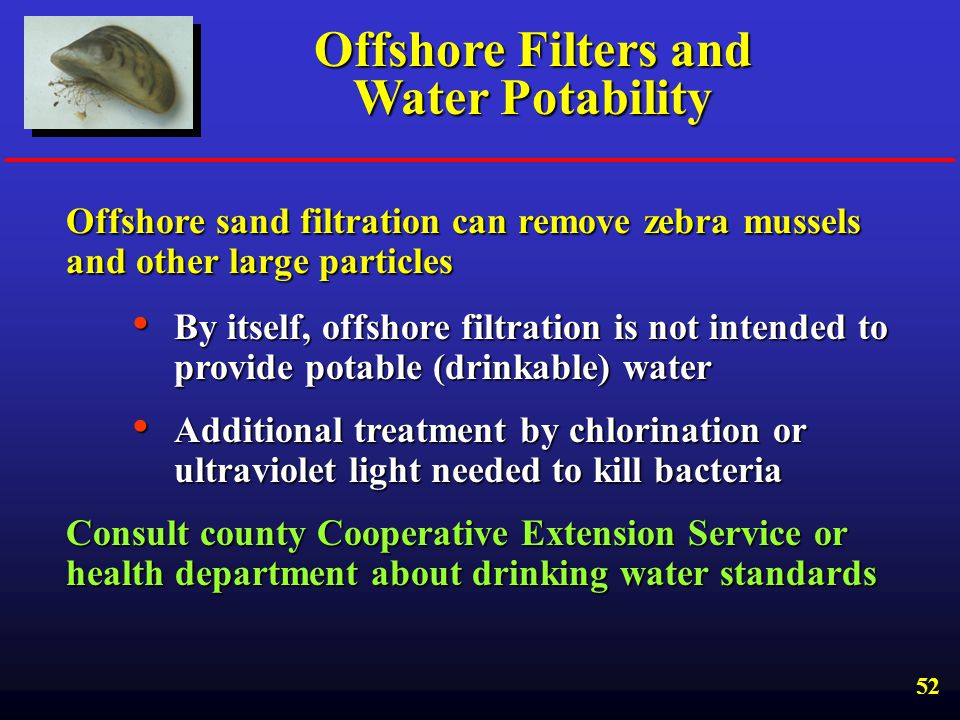 Offshore Filters and Water Potability