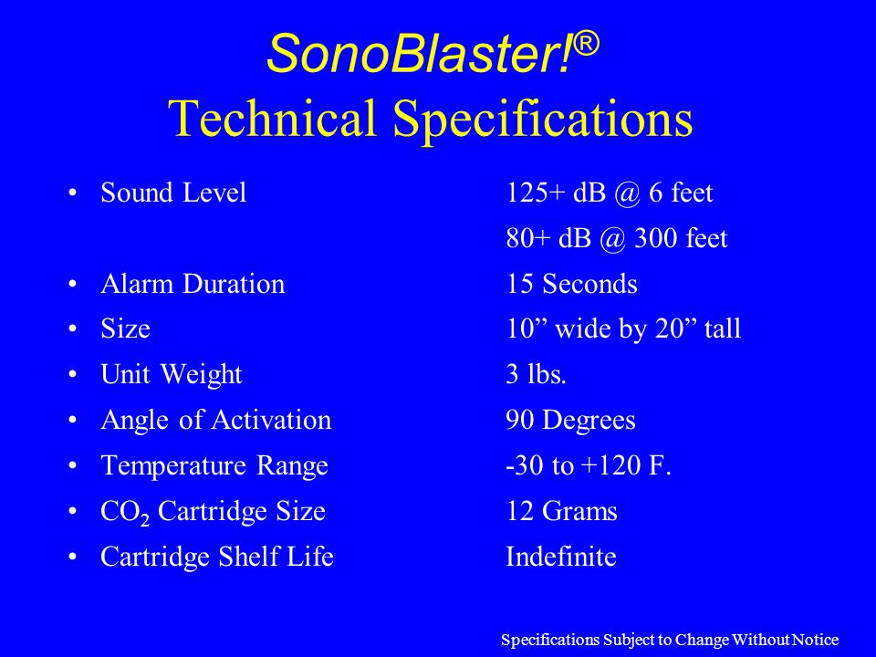SonoBlaster!® Technical Specifications