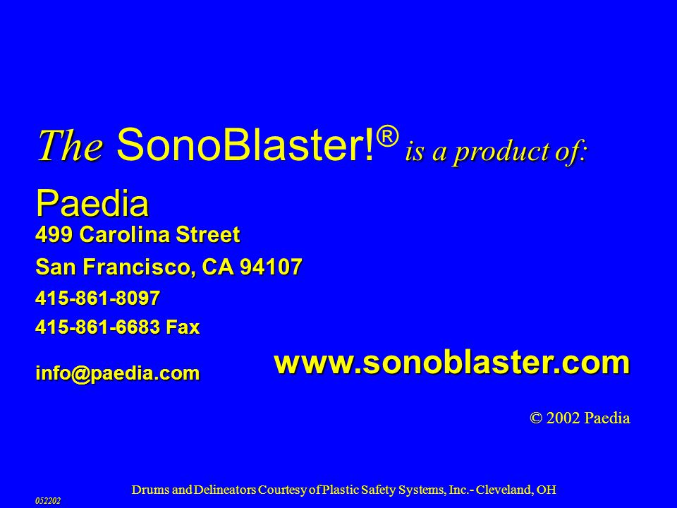 The SonoBlaster!® is a product of: