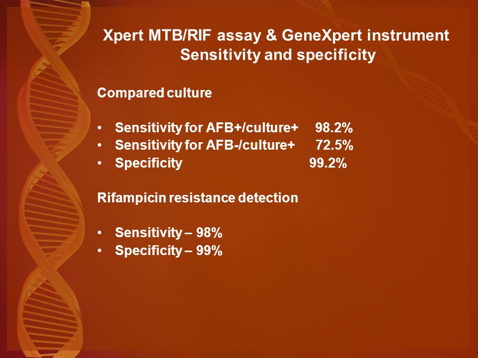 Xpert MTB/RIF assay & GeneXpert instrument Sensitivity and specificity
