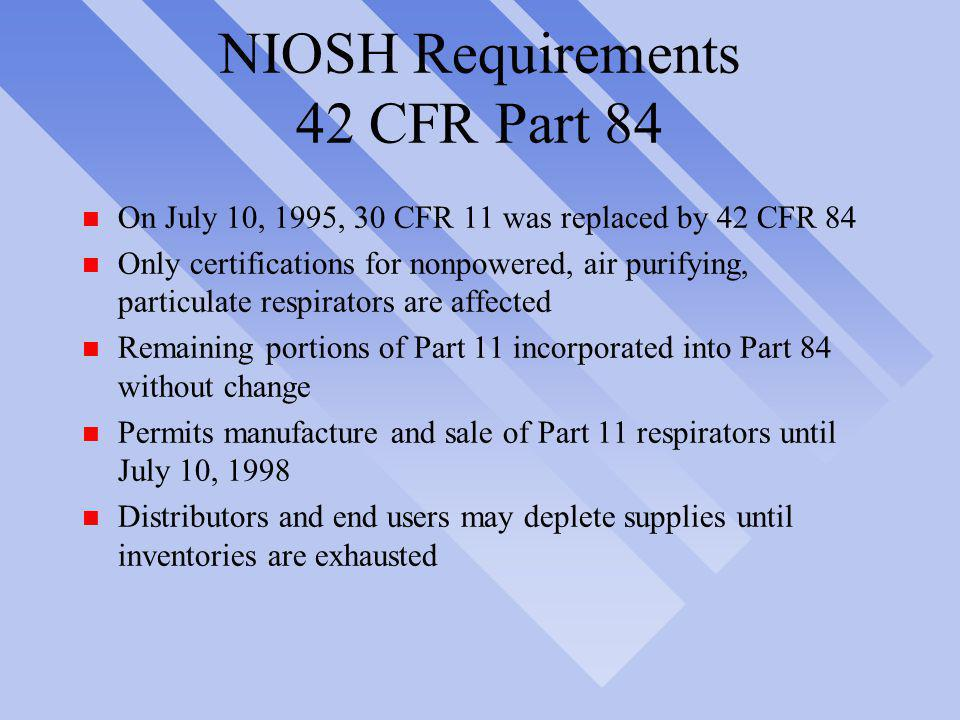 NIOSH Requirements 42 CFR Part 84