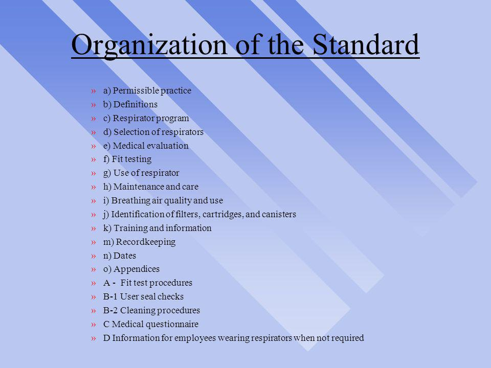Organization of the Standard