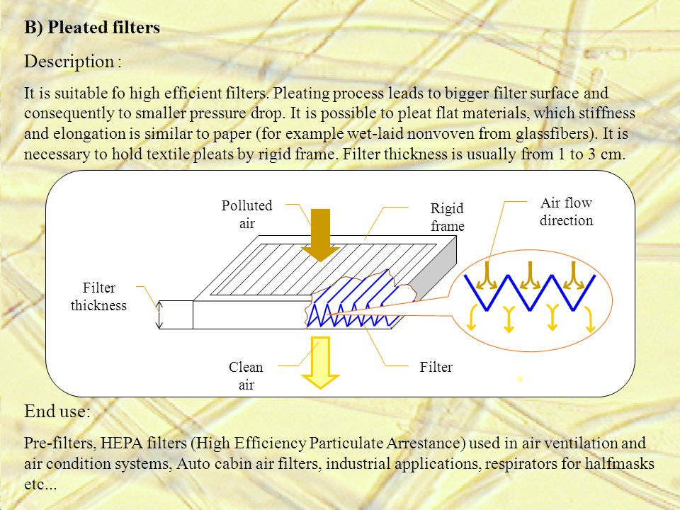 B) Pleated filters Description : End use: