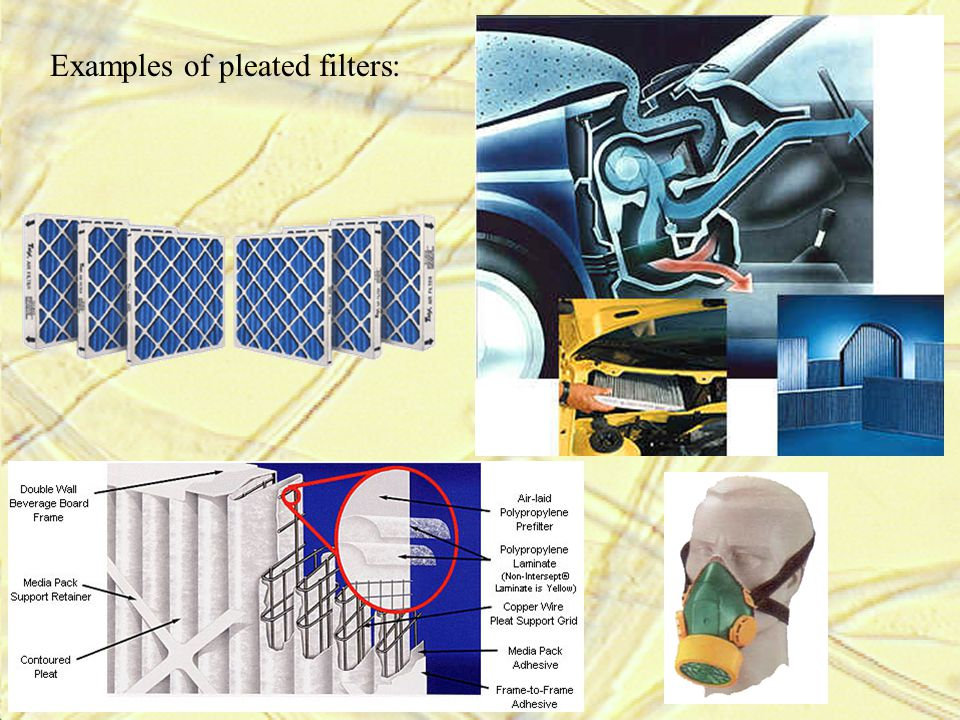 Examples of pleated filters: