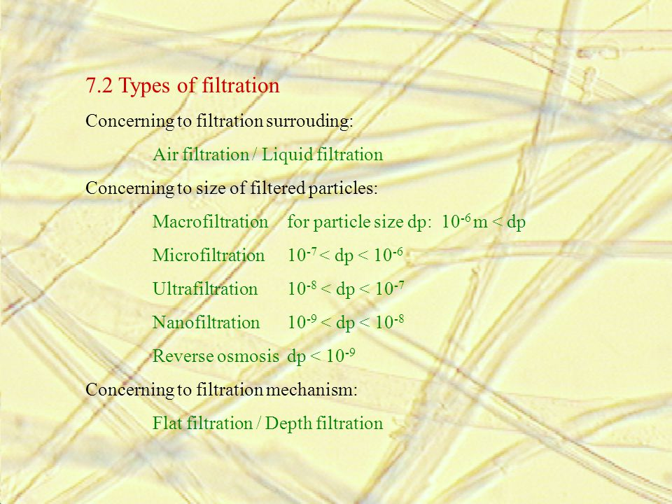 7.2 Types of filtration Concerning to filtration surrouding: