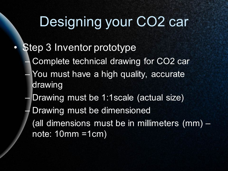 Designing your CO2 car Step 3 Inventor prototype