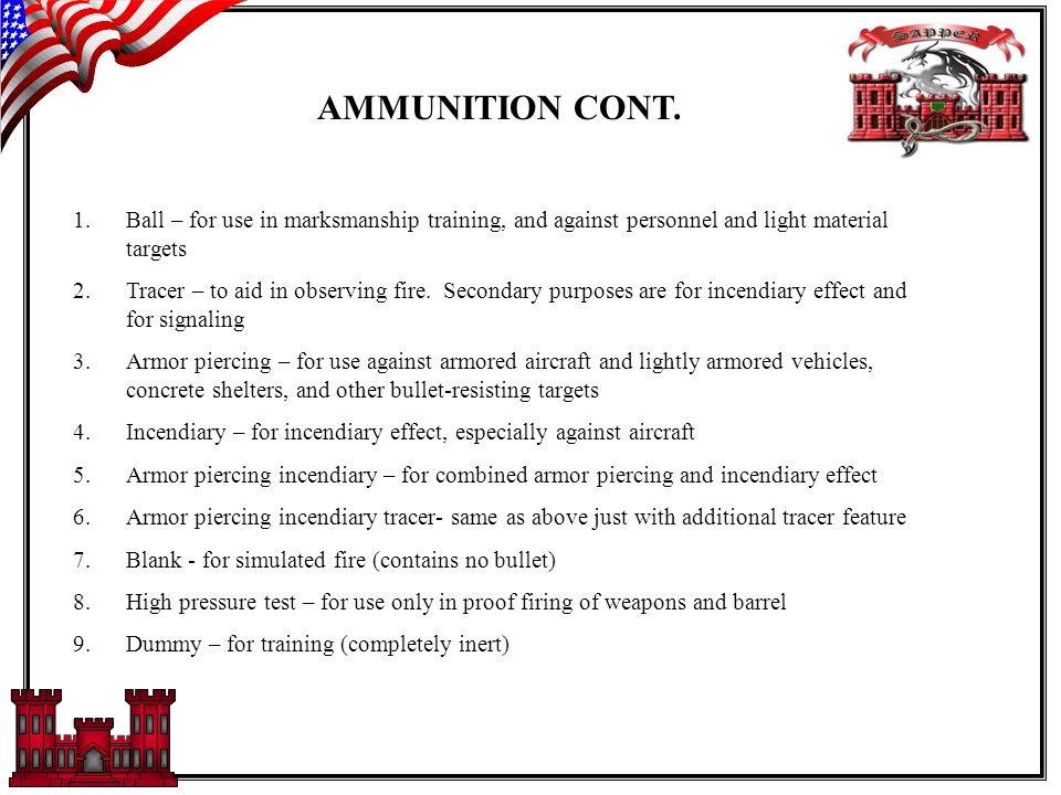 TYPES OF AMMUNITION