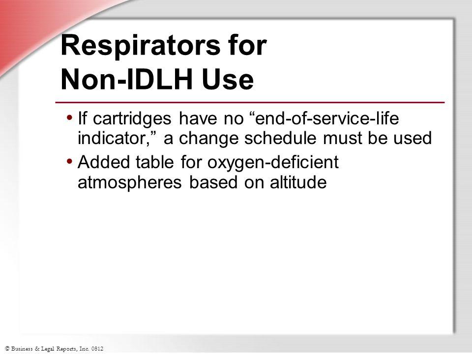 Respirators for Non-IDLH Use