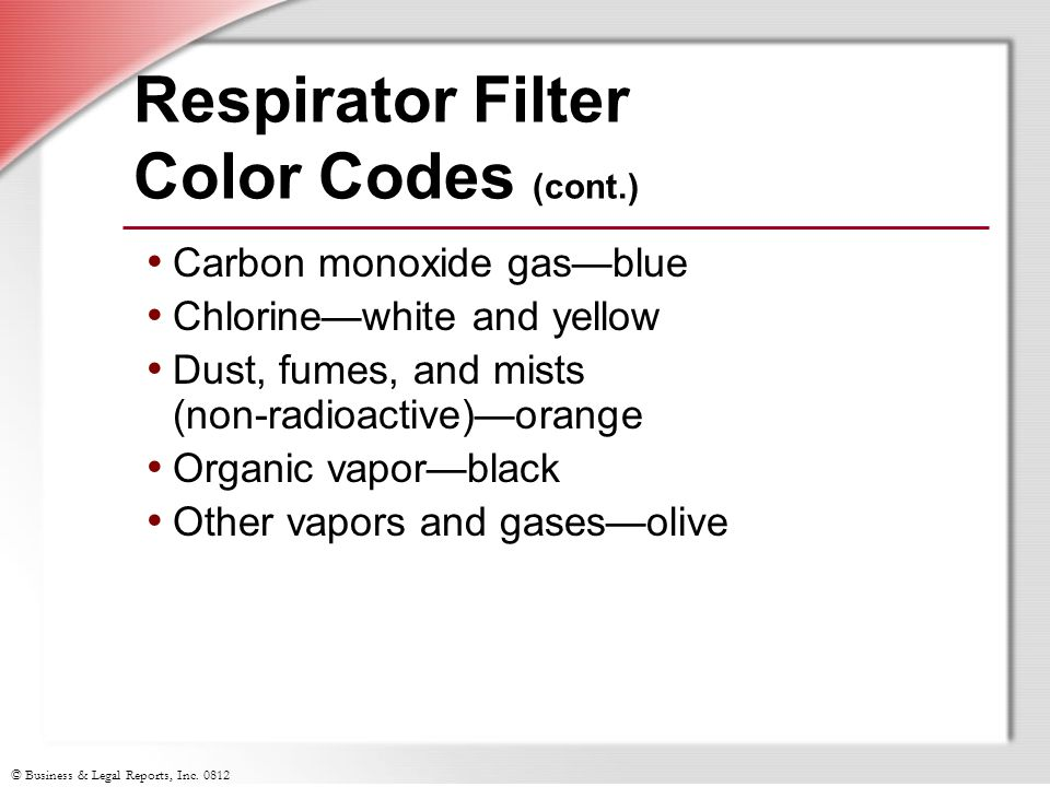 Respirator Filter Color Codes (cont.)