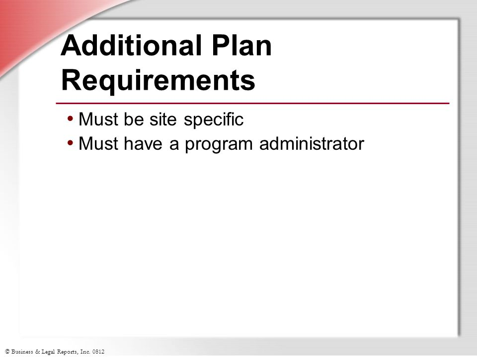 Additional Plan Requirements