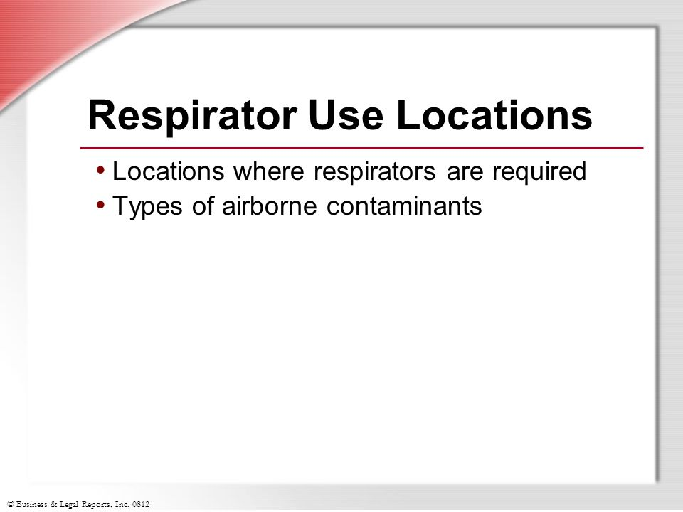 Respirator Use Locations