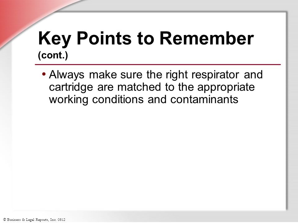 Key Points to Remember (cont.)